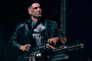 The Punisher using a massive gun.